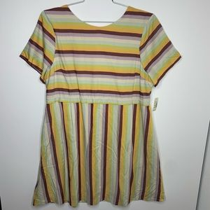 Madewell Striped Scoop Back Dress size 12